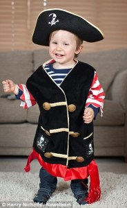Leo Burrell, who was not expected to to walk after suffering brain damage at birth, has defied medics and taken his first steps after copying his favourite pirate programme.