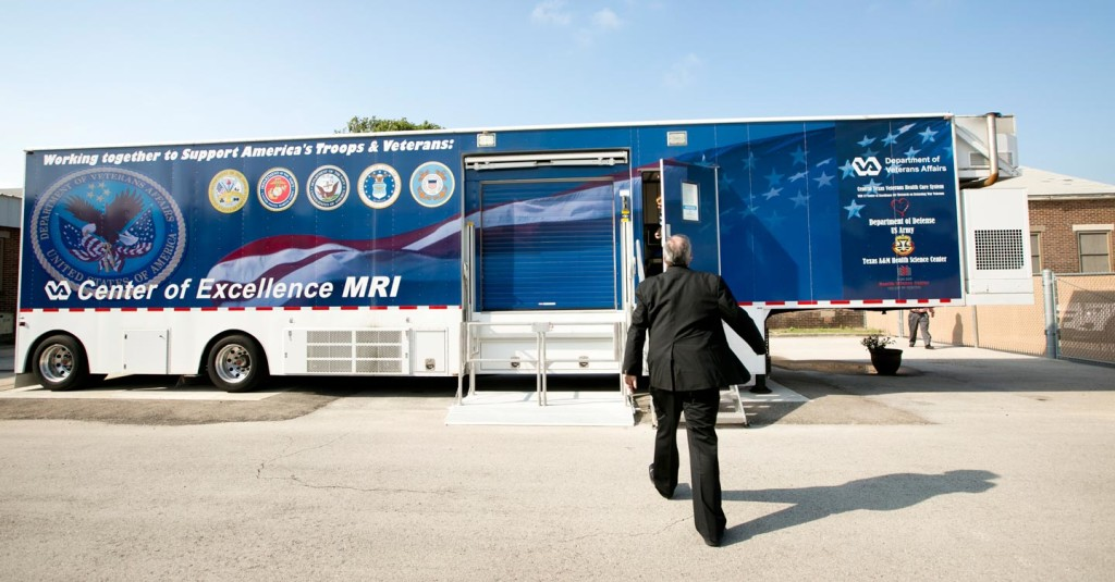 Michael Russell, Director of The Center of Excellence, enters the mobile MRI machine at the Olin E. Teague Veterans' Center in Temple on Monday August 4, 2014. JAY JANNER / AMERICAN-STATESMAN