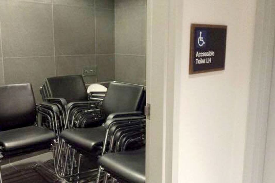 2015-0326 Accessible Toilet Filled with Chairs