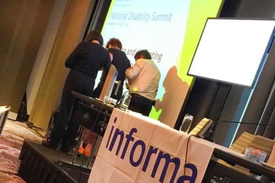 2015-0326 Disabled Speaker Carried Offstage at Disabilities summit