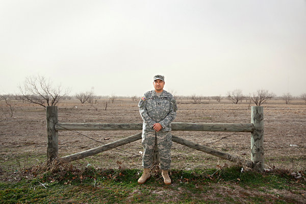 Sgt. Jeffrey Beltran near Fort Sill, in Lawton, Okla., where he was stationed after serving in Iraq and Afghanistan. Among other injuries, Beltran suffered a mild traumatic brain injury in an I.E.D. attack in Iraq in 2005 and can no longer rely on his short-term memory. Credit Stephanie Sinclair/VII, for The New York Times