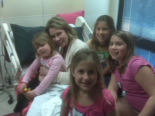 Natalie and her girls at the hospital